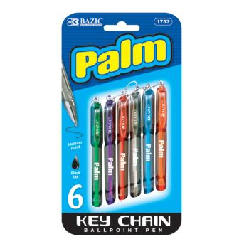 BAZIC - Palm Mini Ballpoint Pen with Key Ring, Assorted, 6 Per Pack