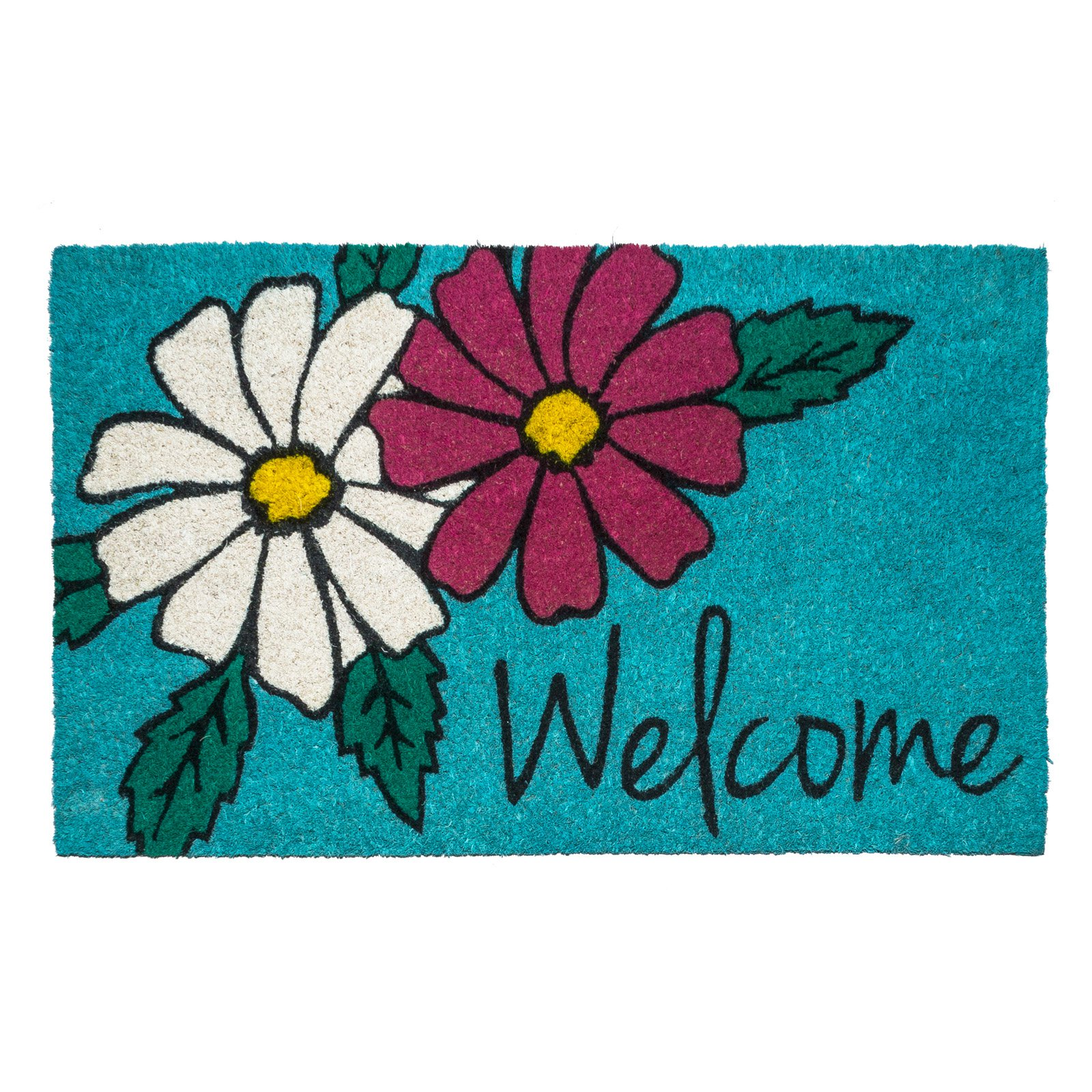 Entryways Floral Welcome Non-Slip Coir Door Mat
