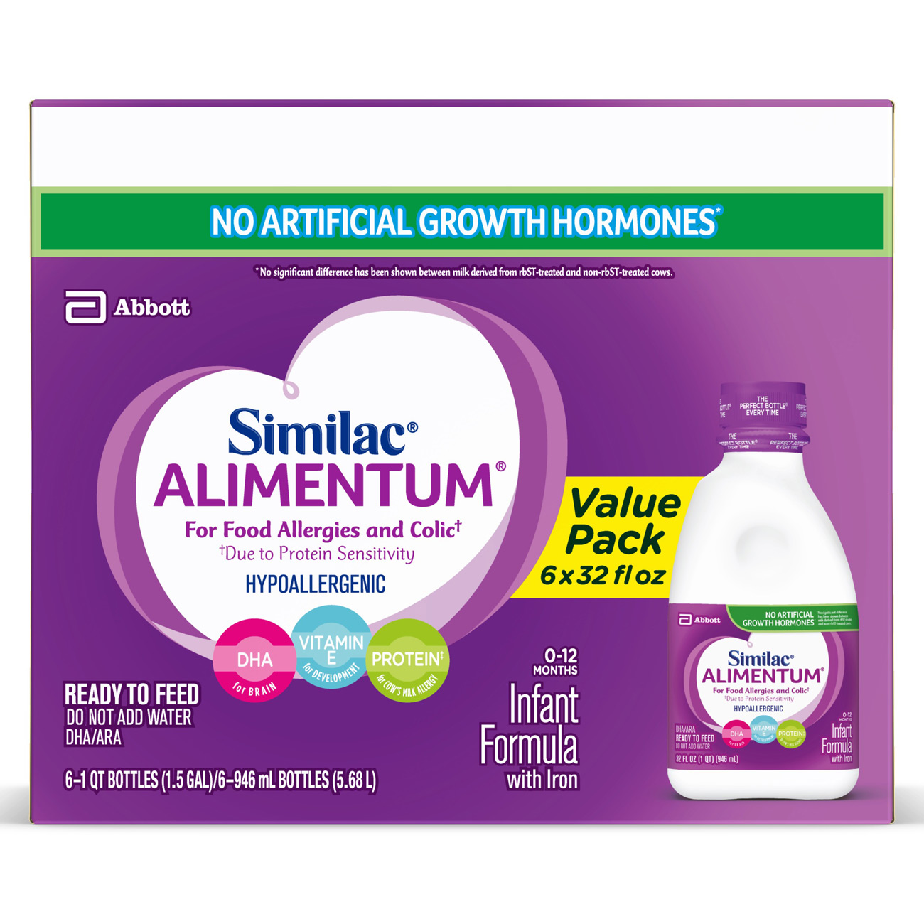 Similac Alimentum Hypoallergenic Infant Formula for Food Allergies and Colic, Baby Formula, Ready to Feed, 1 qt (Pack of 6)