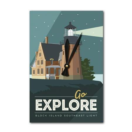 Block Island - Go Explore (Lighthouse) - Vector Style - Final - Lantern Press Artwork (Acrylic Wall Clock)
