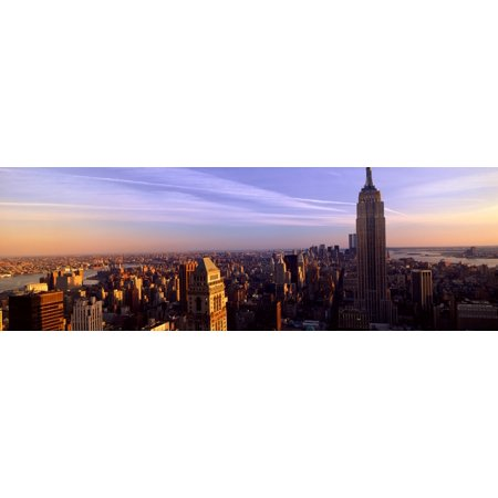 Image of Panoramic view of New York City skyline with Empire State Building Manhattan NY Canvas Art - Panoramic Images (36 x 12)