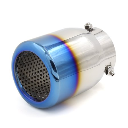 73Mm Inlet 67Mm Outlet Burnt Round Tip Car Exhaust Pipe Muffler Sliver Tone Blue