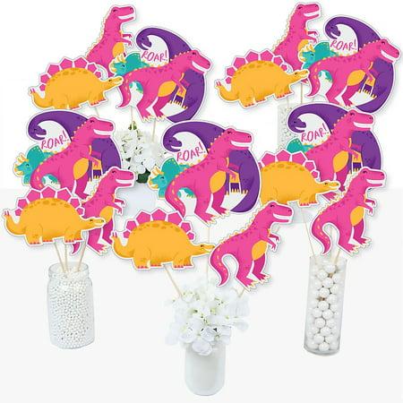 Roar Dinosaur Girl - Dino Mite T-Rex Baby Shower or Birthday Party Centerpiece Sticks - Table Toppers - Set of 15](Dinosaur Centerpiece Ideas)