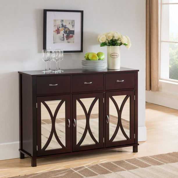 K&B Furniture Espresso Wood 3 Door and 3 Drawer Storage ...