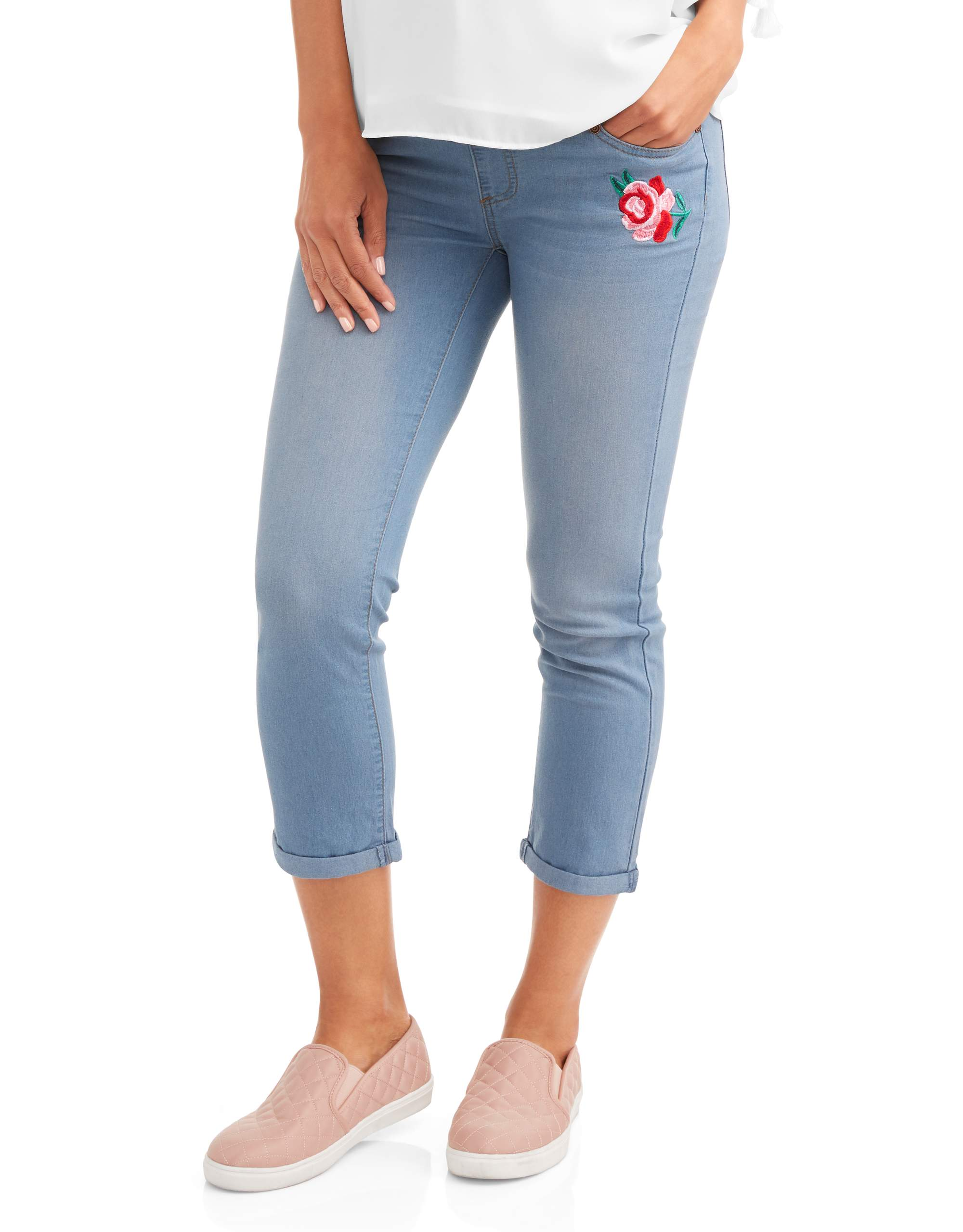 Maternity Floral Patch Full Panel Capri Jeans with Ripped Details --Available in Plus Size by Generic