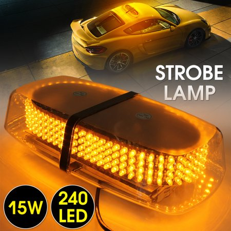 Led Truck - 240 LED Yellow Roof Top 12V Mini Bar, Law Enforcement Truck Car Vehicle Emergency Hazard 7-Modes Beacon Light Snow Plow Safety Flash Strobe Light W/ Magnetic Base