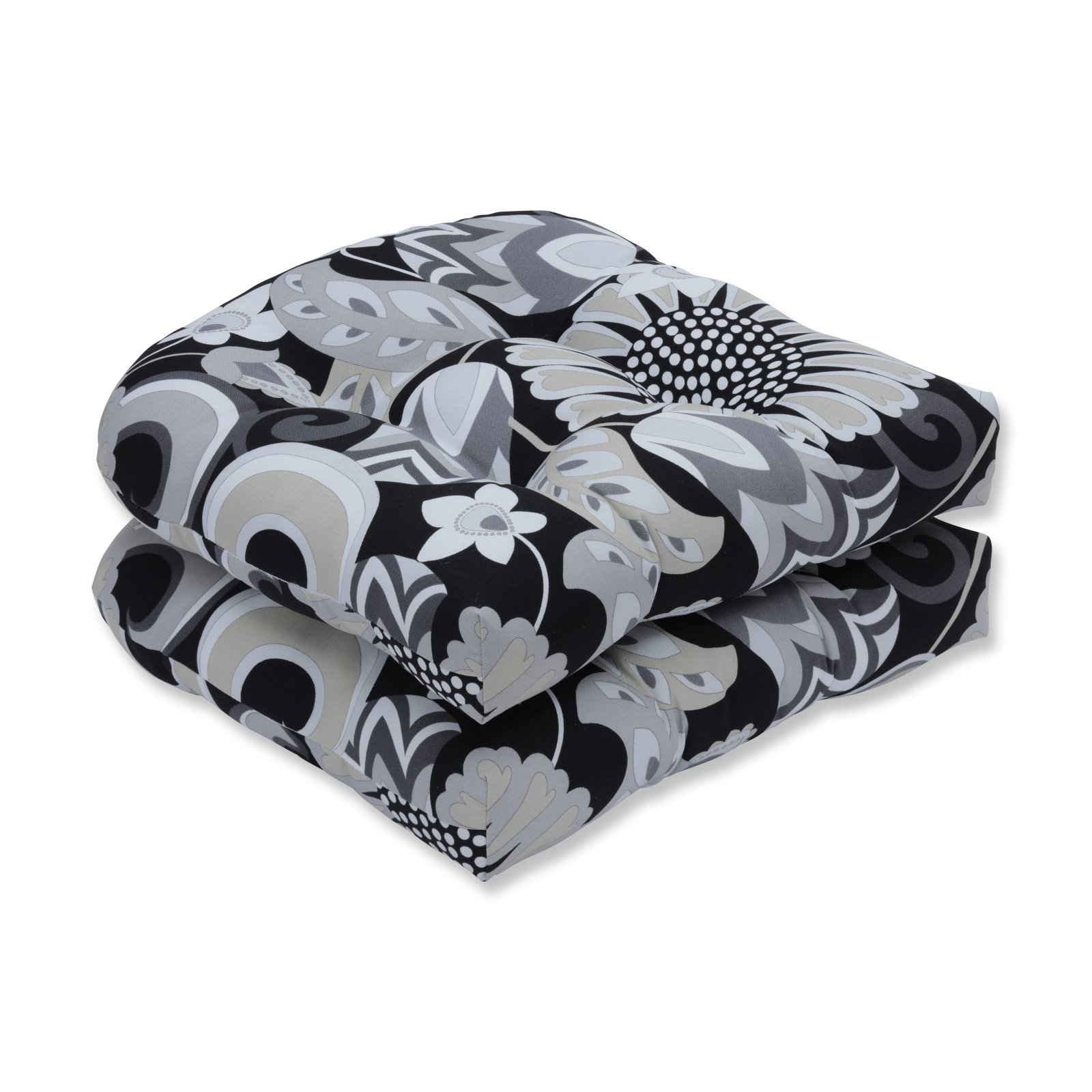 Pillow Perfect Outdoor/Indoor Sophia Graphite Wicker Seat Cushion, Set of 2
