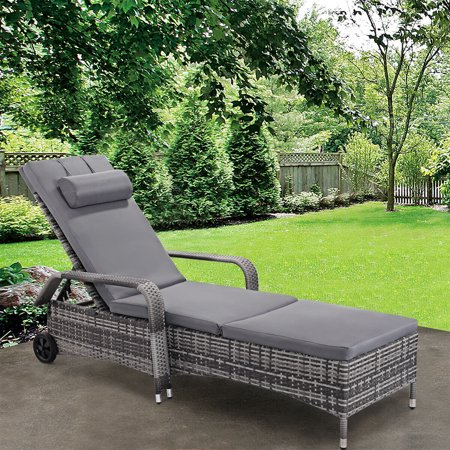 Gymax Adjustable Outdoor Patio Chaise Lounge Cushioned Recliner Chair Furniture - image 5 of 5