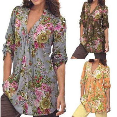 Vintage Floral Print V-neck Tunic Tops Women's Fashion Plus Size Tops Shirt