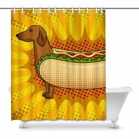 MKHERT Hot Dog Funny Metaphor Pop Art Retro House Decor Shower Curtain for Bathroom Decorative Fabric Bath Curtain Set 60x72 inch