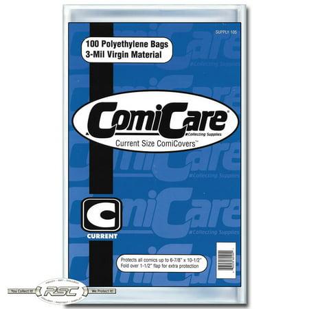 100 - ComiCare Current 3-Mil Polyethylene Comic Book Bags - 6-7/8