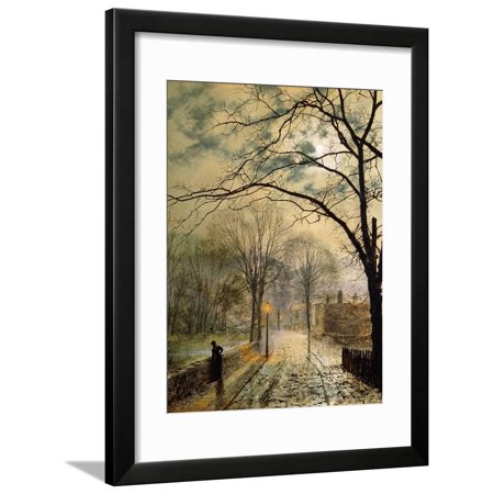 A Moonlit Stroll, Bonchurch, Isle of Wight, 1878 Country Road Landscape Framed Print Wall Art By John Atkinson (Country Road Glasses Frames)