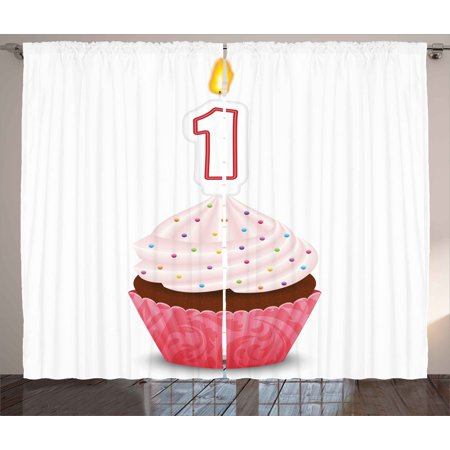 1st Birthday Decorations Curtains 2 Panels Set Kitchen Cuisine Inspired Pastry Cupcake Party With Candle