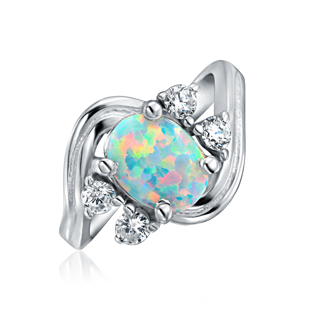 Bling Jewelry .925 Silver Vintage Style Synthetic Opal CZ Oval Engagement Ring