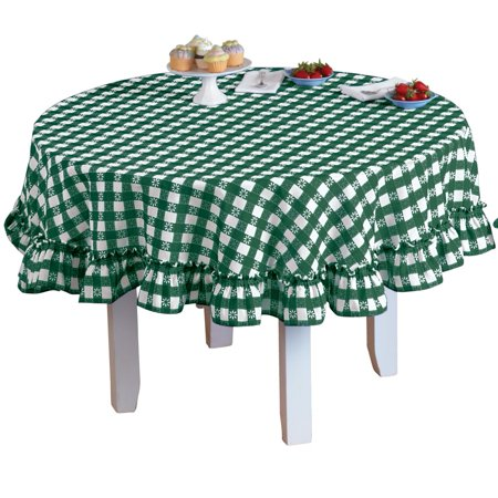 Samantha Checkered Country Style Ruffled 70 Inch Round Tablecloth
