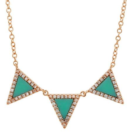 Diamond Triangle Necklace - Trio Triangle Pendant 14k Rose Gold 0.17 Ct Diamond & Turquiose Necklaces For Women