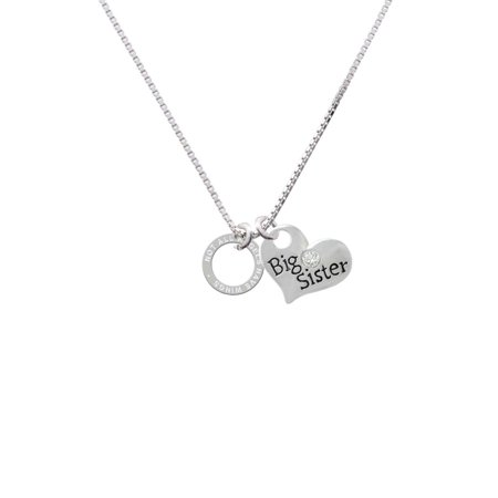 Silvertone Not All Angels Have Wings Eternity Ring Big Sister Heart Necklace