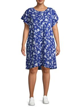 Terra & Sky Women's Plus Size Everyday Flutter Sleeve T-Shirt Dress