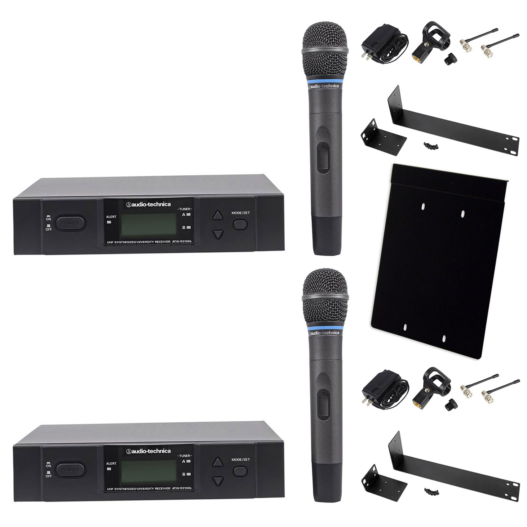 (2) Audio Technica ATW-3171BI+AT8630 Dual Wireless Complete Microphone System