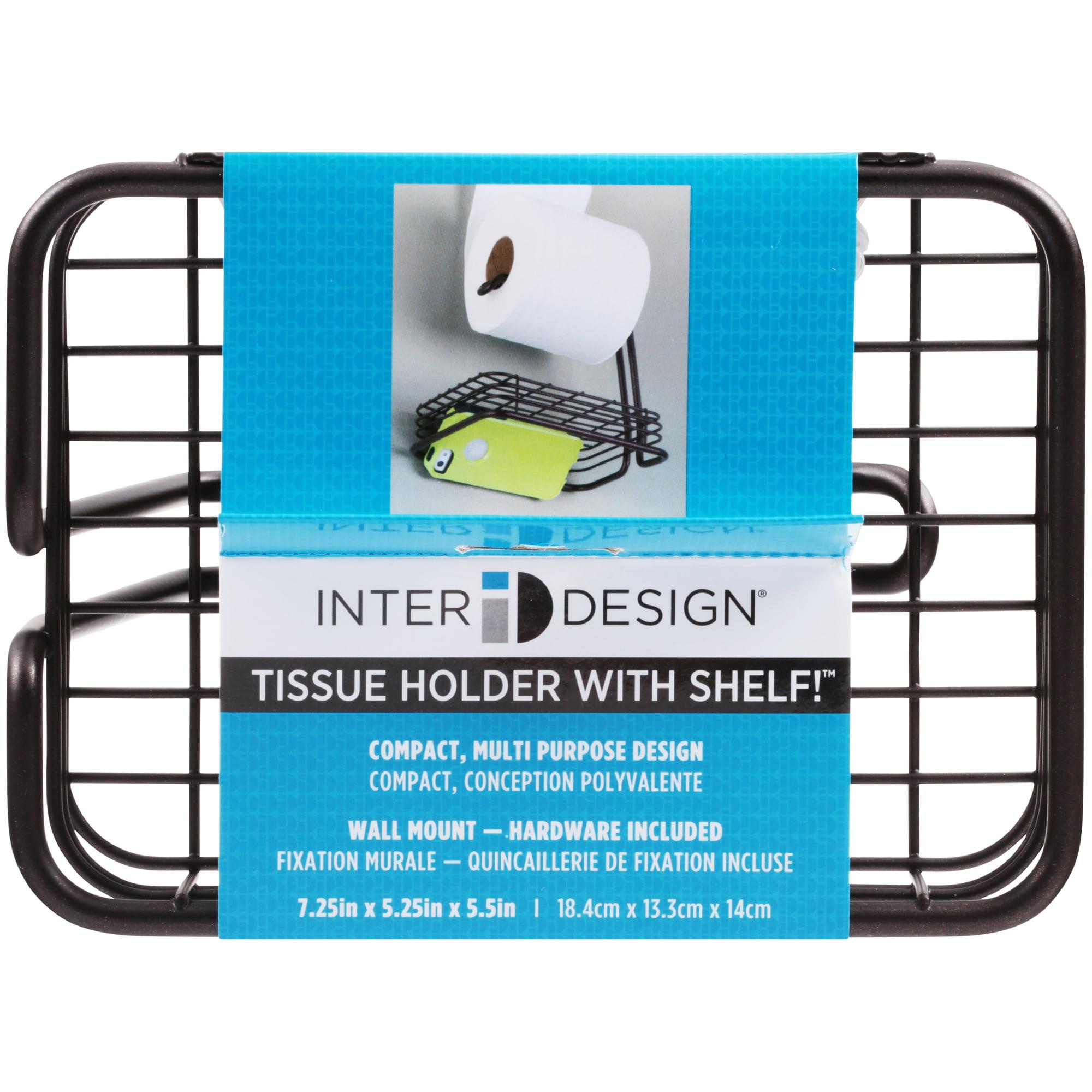 InterDesign Toilet Tissue Holder with Shelf, Wall Mount, Bronze ...