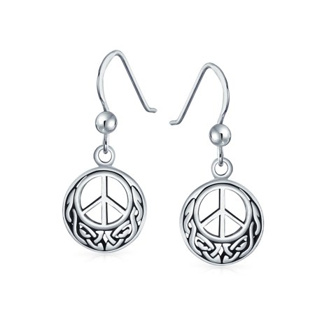 Peace Sign Symbol Celtic Knotwork Celtic Irish Love Knot Work Drop Earrings For Women Teen Oxidized 925 Sterling Silver - image 2 of 2