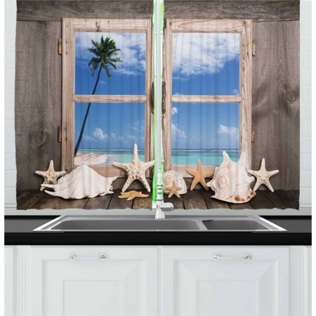 Beach Curtains 2 Panels Set, Summer Holiday wih Seashells Starfish and Palm Tree Ocean Print, Window Drapes for Living Room Bedroom, 55W X 39L Inches, Pale Brown Sky Blue and White, by (Palm Tree Room Roll)