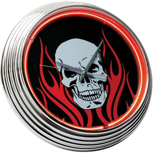 On The Edge Marketing Skull 14.75'' Neon Wall Clock