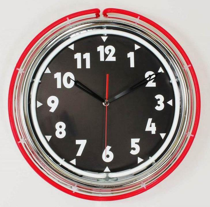 Kirch 1066REDWHITE Red Double Neon Wall Clock