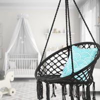 AUGIENB Hanging Hammock Chair Macrame Swing Seat Mesh, Handmade Knitted Hanging Cotton Rope Chair for Indoor/Outdoor Home Patio Deck Yard Garden Reading Leisure Gift
