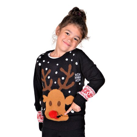 Kids Ugly Christmas Sweater (KESIS Children Rudolph With 3D Nose Ugly Christmas)