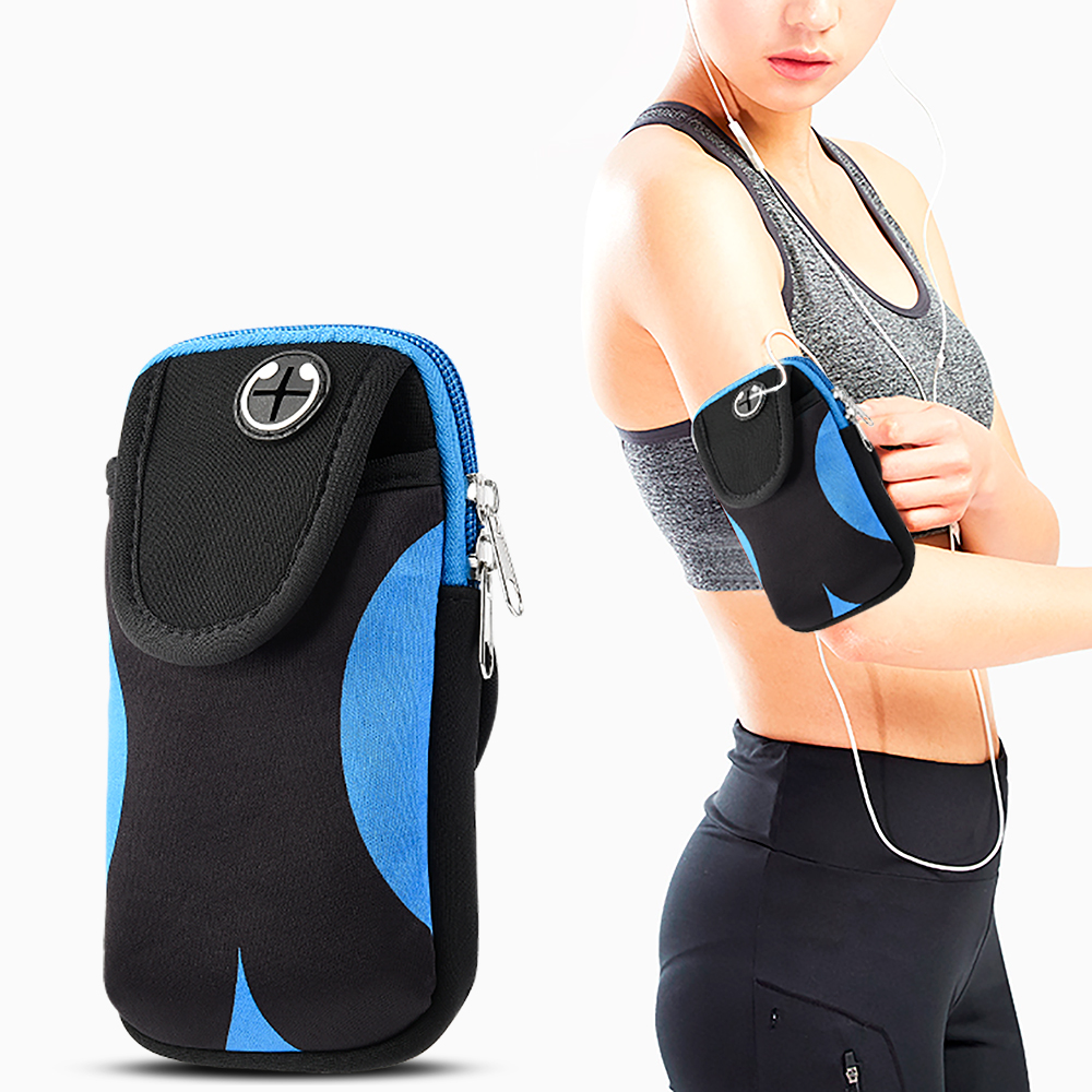 Universal Cell Phone Armband Adjustable Gym Sports Armband Bag Case Cell Phone Pouch Pocket for Running Jogging Hiking Climbing Cycling Camping Workout - Black/Blue