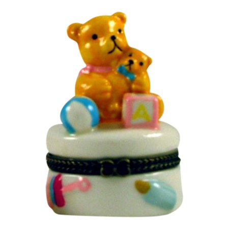 - Teddy Bear Baby Bow Bottle Hinged Trinket Box phb