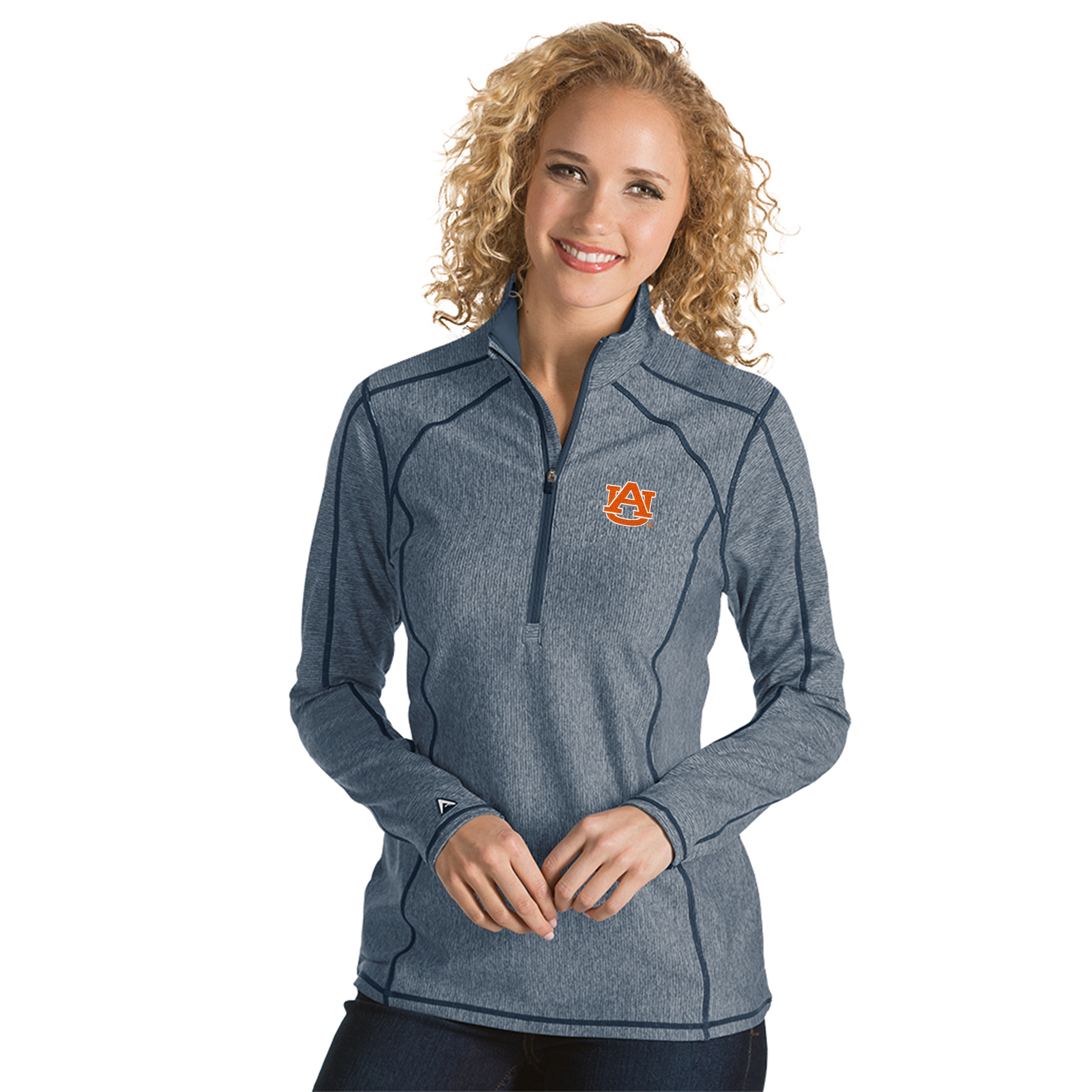 Women's Antigua Navy Auburn Tigers Tempo 1/4-Zip Desert Dry Pullover Jacket