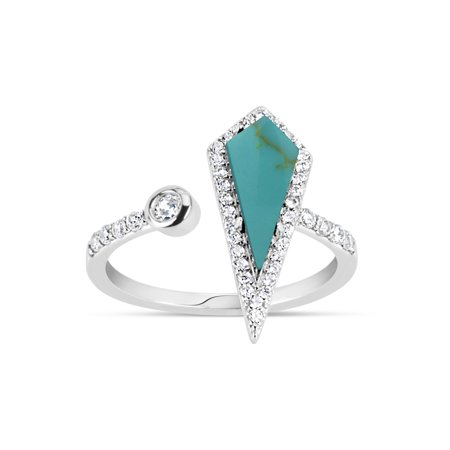 Sterling Silver Shank (Manufactured Turquoise and White Cubic Zirconia Sterling Silver Rhodium Plated Long Rhombus Triangle Open Shank Ring)