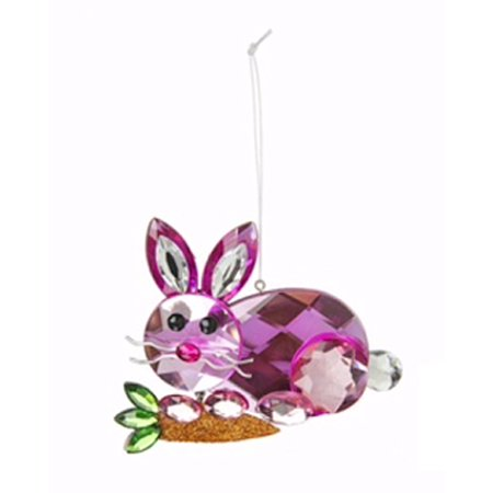 Decorative Pink Bunny With Carrot Easter Ornament - By Ganz - Bunny Ornaments