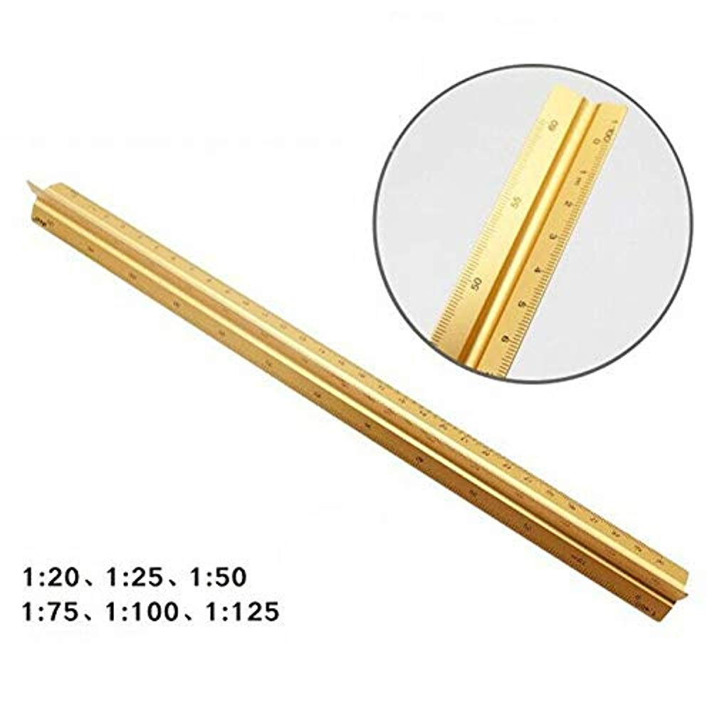 Alloy Triangular Architect Scale Architectural Ruler Metric 6 Scales Gold