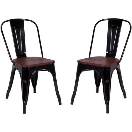 Black Wood Dining Room Chairs - Costway Set of 2 Style Dining Side Chair Stackable Bistro Metal Wood Stool Black