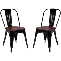 Costway Set of 2 Style Dining Side Chair Stackable Bistro Metal Wood Stool Black