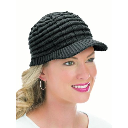 Womens Winter Hat with Brim, One Size, Black