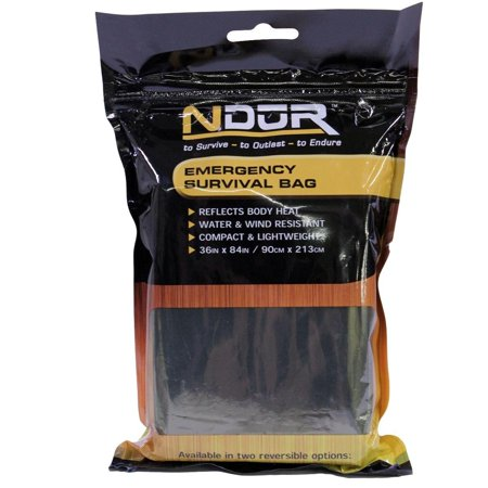 Ndur Emergency Survival Bag, Olive/Silver, Provides emergency protection in all weather as well as preventing and assisting treatment of hypothermia By Pro Force