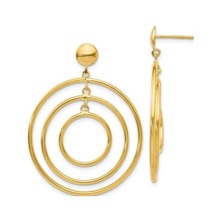 Boucles d'oreilles en or jaune 14k Fancy Cercle Dangle (post) de 33x45mm - image 3 de 3