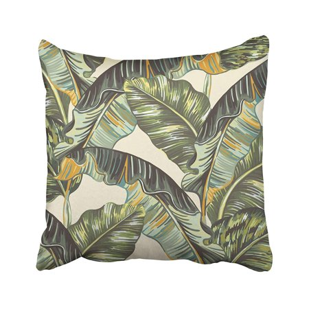 ARTJIA Green Banana Tropical Palm Leaves Jungle Leaf Floral Pattern Beige Vintage Botanical Pillowcase Pillow Cushion Cover 20x20 inches