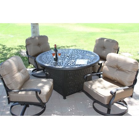 Elisabeth 5pc deep seating set with 52in Fire Table with enclosure Series 2000 -  Heritage Outdoor Living