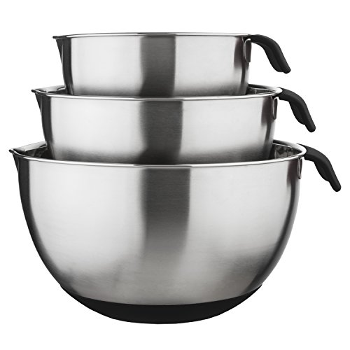 Culinary Edge 03823 Mixing Bowl Set, 10 x 10 x 6 inches, Silver