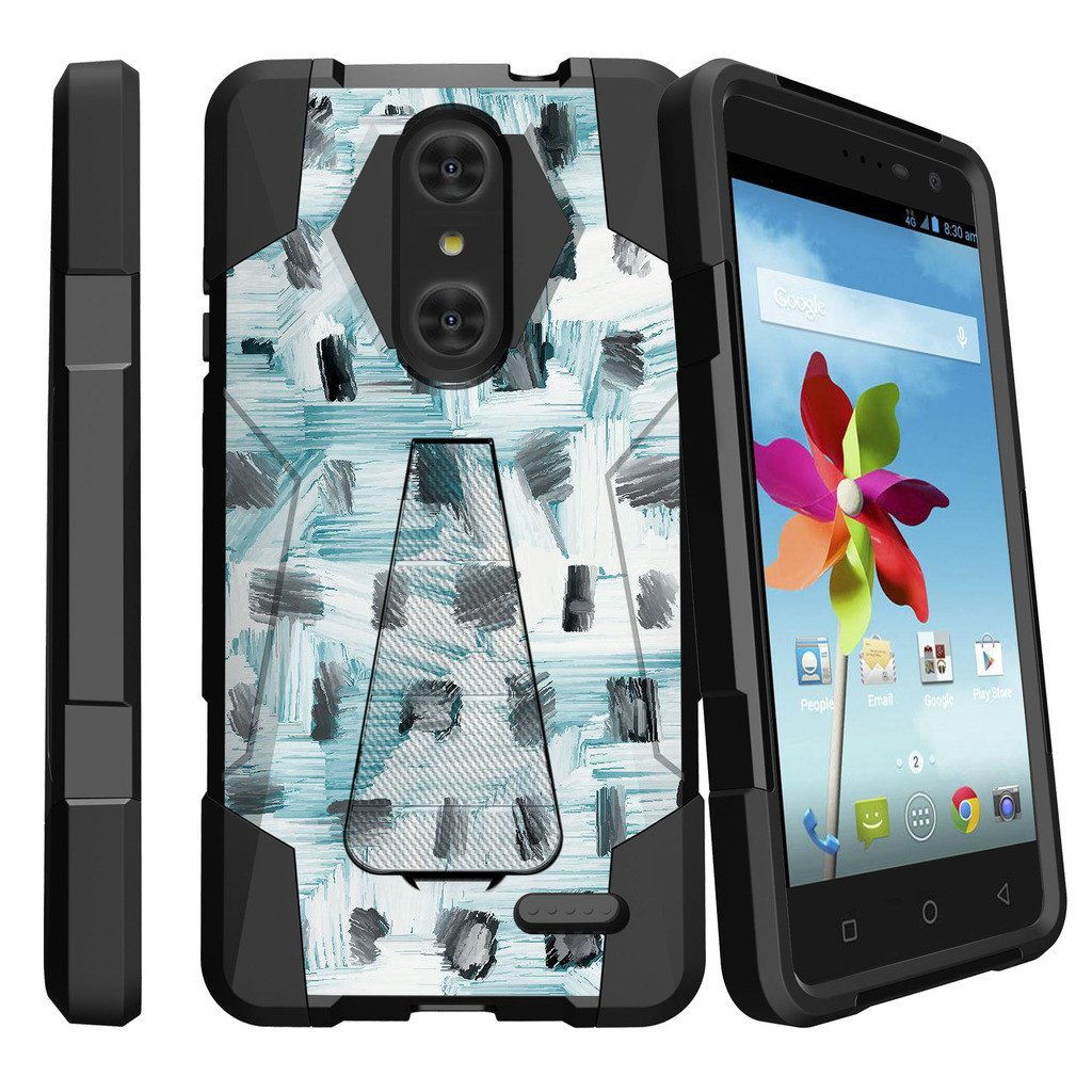 ZTE Grand X4 Z956 Shock Fusion Heavy Duty Dual Layer Kickstand Case -  Black White and Blue