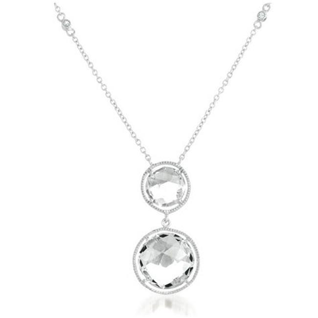 CZ GN1035-RP Rock Candy' WHITE TOPAZ double Round drop sterling Silver Rhodium plated DIAMOND by THE YARD Chain Pendant