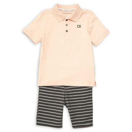 Little Boy's 2-Piece Polo & Stripe Shorts Set
