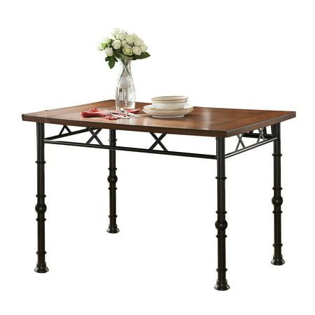 black ash wood metal rectangle industrial kitchen dinette dining table. Black Bedroom Furniture Sets. Home Design Ideas
