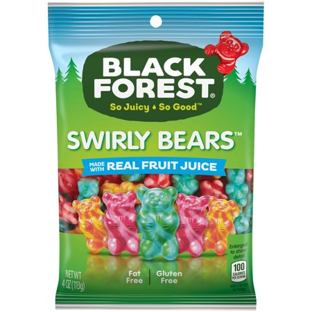 Black Forest Fat-Free Gluten Free Assorted Swirly Gummy Bears, 4.5 Oz. - Gluten Free Assorted Flavors