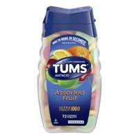 (2 Pack) Tums antacid chewable tablets for heartburn relief, ultra strength, assorted fruit, 72 tablets